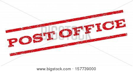 Post Office watermark stamp. Text caption between parallel lines with grunge design style. Rubber seal stamp with unclean texture. Vector red color ink imprint on a white background.