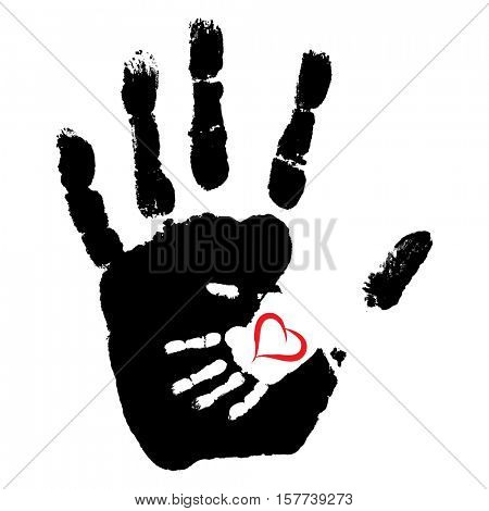 Concept or conceptual cute paint hand of mother child and heart shape isolated on white background