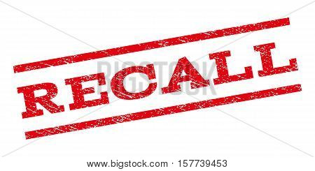 Recall watermark stamp. Text caption between parallel lines with grunge design style. Rubber seal stamp with dust texture. Vector red color ink imprint on a white background.