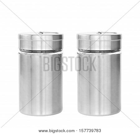 dual or two blank stainless steel bottle seasoning or cruet for your brand or type of seasoning on white isolated included clipping path