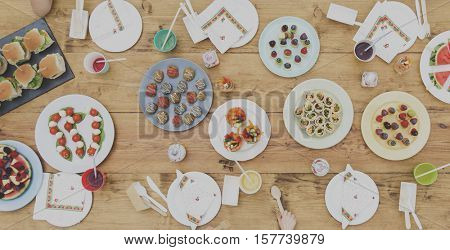 Food Party Celebration Table Setting Concept