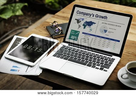 Digital Laptop Working Global Business Concept
