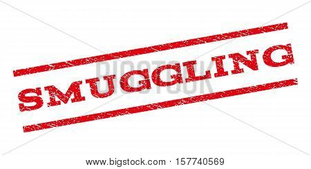 Smuggling watermark stamp. Text tag between parallel lines with grunge design style. Rubber seal stamp with dust texture. Vector red color ink imprint on a white background.