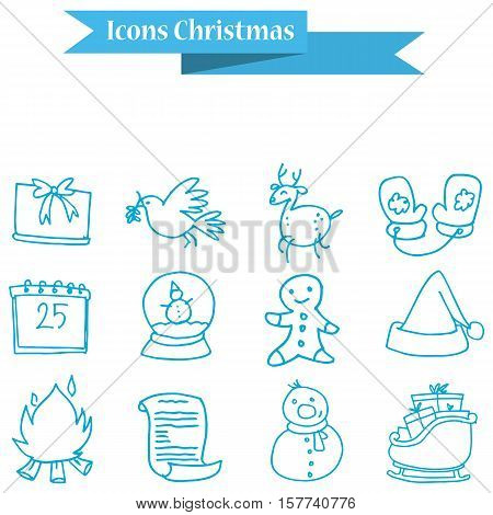 Christmas holiday icons set vector collection stock