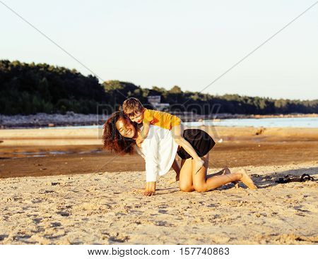 pretty diverse nation and age friends on sea coast having fun, lifestyle people concept on beach vacations close up