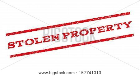 Stolen Property watermark stamp. Text tag between parallel lines with grunge design style. Rubber seal stamp with scratched texture. Vector red color ink imprint on a white background.