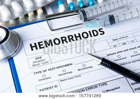 Hemorrhoids Concept Diagnosis - Hemorrhoids. Medical Report With Composition Of Medicaments