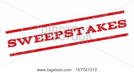 Sweepstakes watermark stamp. Text tag between parallel lines with grunge design style. Rubber seal stamp with unclean texture. Vector red color ink imprint on a white background. poster