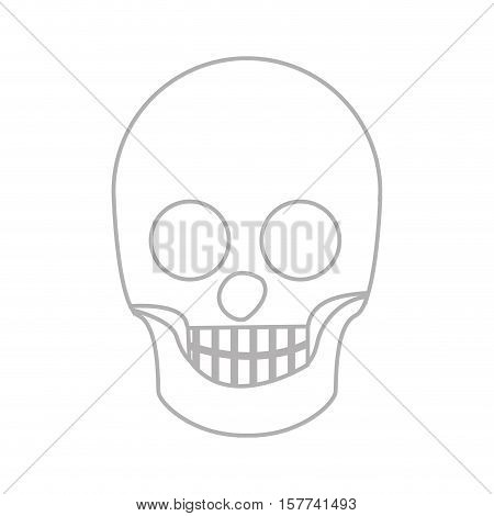 silhouette skull bones with teeths vector illustration