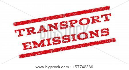 Transport Emissions watermark stamp. Text caption between parallel lines with grunge design style. Rubber seal stamp with dust texture. Vector red color ink imprint on a white background.