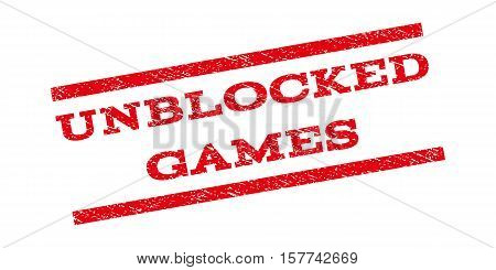 Unblocked Games watermark stamp. Text caption between parallel lines with grunge design style. Rubber seal stamp with dust texture. Vector red color ink imprint on a white background.