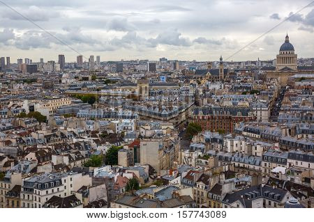 Aerial View Over The City Of Paris