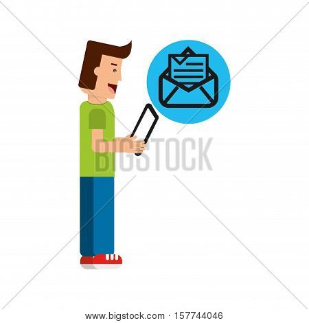 character boy with tablet email newsletter open envelope vector illustration eps 10