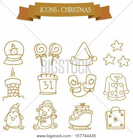 Collection stock Christmas holiday icons set vector