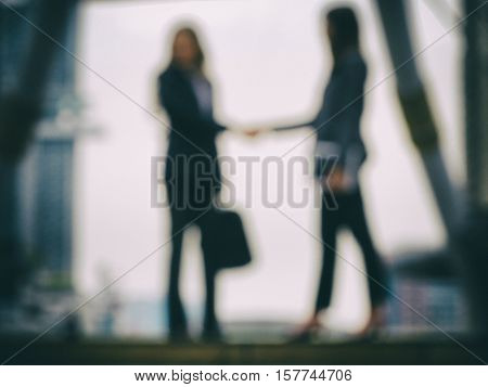 Businesswomen shaking hands for MOU and sgreement successed