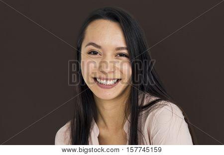 Woman Cheerful Portrait Studio Concept