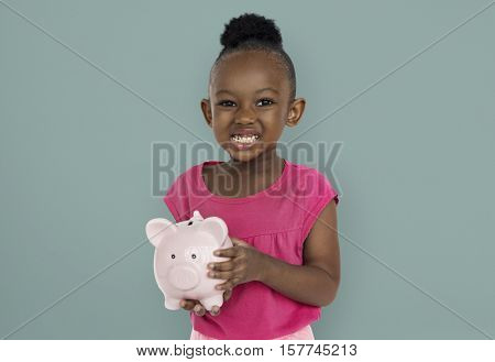 Little Girl Piggy Bank Concept