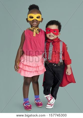 Boy And Girl Superheroes Concept