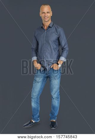 People Man Full Body Studio Shoot Concept