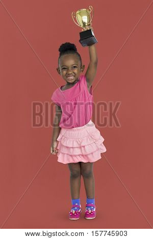 African Girl Won Prize Award Reward Portrait Concept