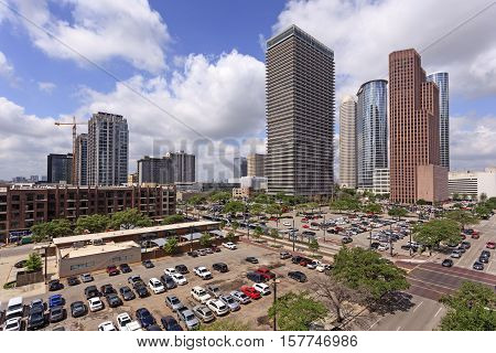 Skyscrapers in Houston downtown. Texas United States