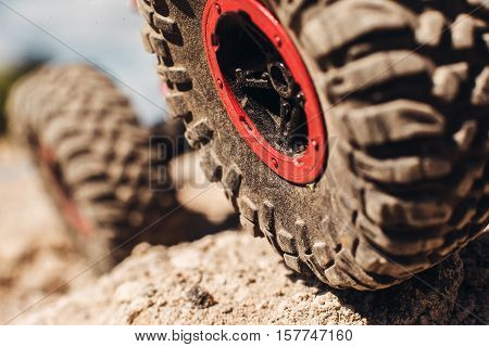 SUV Truck Transportation Off Road Tyre Wheel Safety Concept