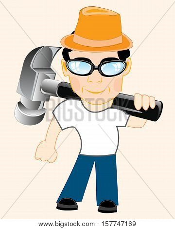 Man worker with tools gavel on shoulder