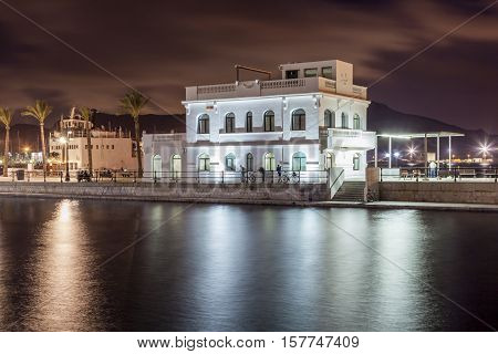 Club de Regata building at the promenade of Cartagena Spain
