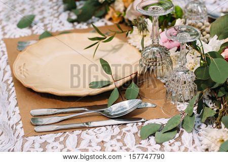 Restaurant Serving Catering Banquet Rustic Wedding Dinner Celebration Luxury Concept