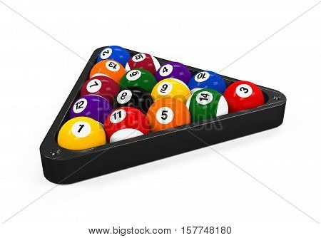 Set of Billiard Balls isolated on white background. 3D render