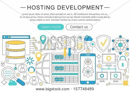 Vector modern line flat design Hosting development concept. Hosting development icons Website Header, app design poster banner