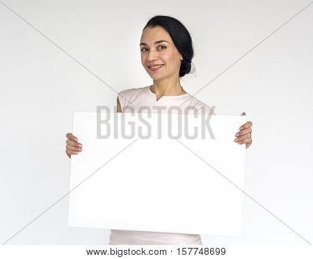 Woman Smiling Happiness Placard Copy Space Portrait Concept