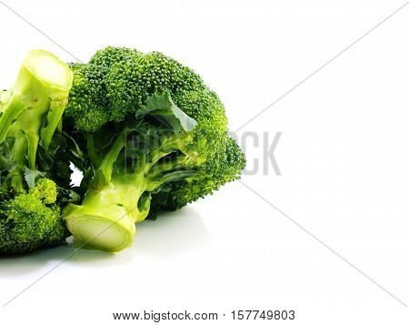Green fresh broccoli isolated on white background