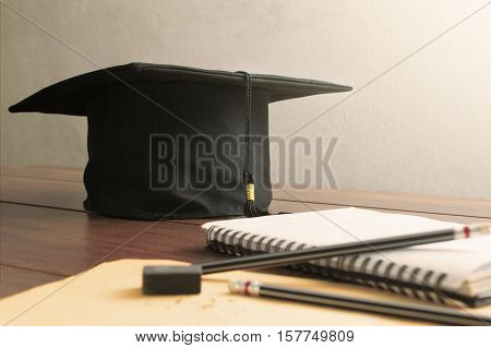 Graduation Cap, Hat On Wood Table Empty Ready For Your Product Display Or Montage.