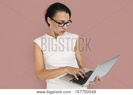 Women Work Use Laptop Concept