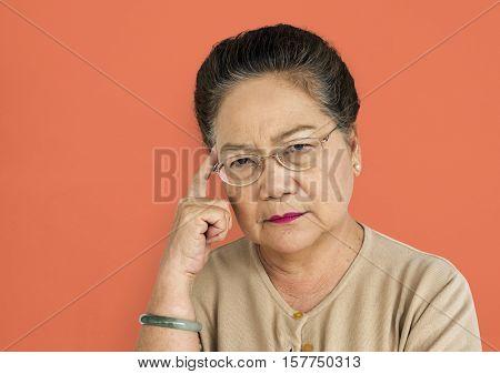 Adult Asian Woman Dress Unhappy Problem Concept