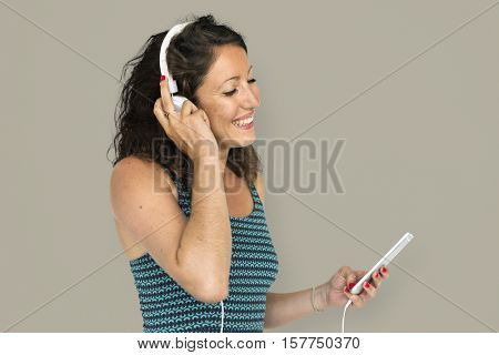 Girl Listening Music Headphones Concept