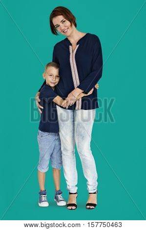 Mother Son Hugging Support Parent Child Concept