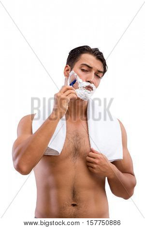 Handsome man shaving isolated on white background