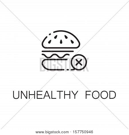Burger flat icon. Single high quality outline symbol of sweet food for web design or mobile app. Thin line signs of sugar for design logo, visit card, etc. Outline pictogram of sugar
