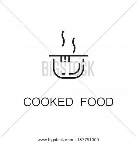 Cooked food flat icon. Single high quality outline symbol of food for web design or mobile app. Thin line signs of pan for design logo, visit card, etc. Outline pictogram of cooked food
