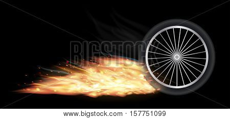 a motocycle vehicle wheel with fire burning
