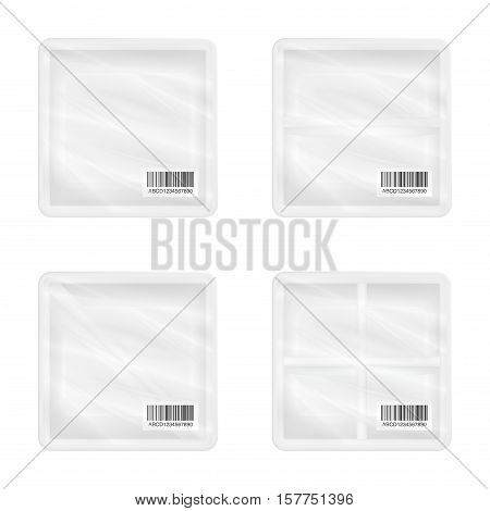 top view of White polystyrene square packaging mockup