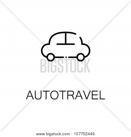 Autotravel flat icon. Single high quality outline symbol of travel for web design or mobile app. Thin line signs of tourism for design logo, visit card, etc. Outline pictogram of car