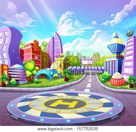 Fantastic Futuristic Airport of City. Video Game's Digital CG Artwork, Concept Illustration, Realistic Cartoon Style Background