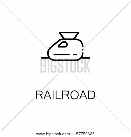Railroad flat icon. Single high quality outline symbol of travel for web design or mobile app. Thin line signs of tourism for design logo, visit card, etc. Outline pictogram of railroad