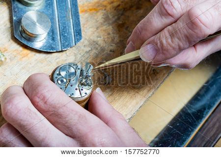 Clockmaker Fixing An Opened Watch