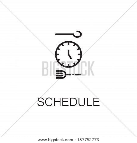 Clock flat icon. Single high quality outline symbol of healthy eating for web design or mobile app. Thin line signs of clock for design logo, visit card, etc. Outline pictogram of schedule