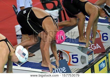 Hong Kong China - Oct 29 2016. Russian olympian and world champion breaststroke swimmer Yulia Yefimova at the start. FINA Swimming World Cup Preliminary Heats Victoria Park Swimming Pool.