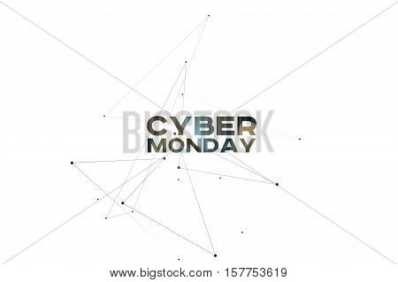 Cyber Monday 3D Background. Design Template for eCommerce Business Website Banner Pop-Up and other.